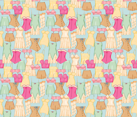 Retro Ladies Lingerie Light Blue Packed fabric by phyllisdobbs on Spoonflower - custom fabric