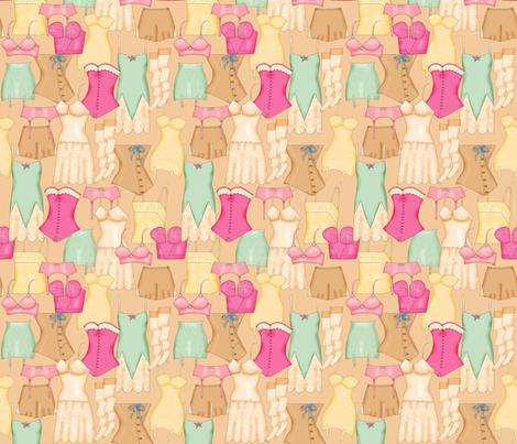 Retro Ladies Lingerie Tan Packed fabric by phyllisdobbs on Spoonflower - custom fabric