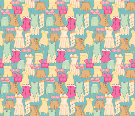 Retro Ladies Lingerie Turquoise Teal Packed fabric by phyllisdobbs on Spoonflower - custom fabric