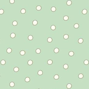 White Pearl Dots on Light Green