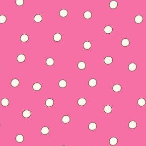 White Pearl Dots on Pink
