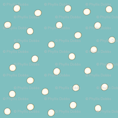 White Pearl Dots on Turquoise Teal Blue
