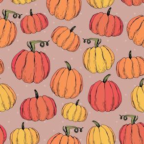 Funny rustic autumn pumpkins