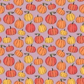 Funny cozy rustic autumn pumpkins