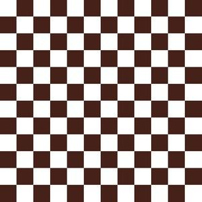 Half Inch White and Brown Checkerboard Squares