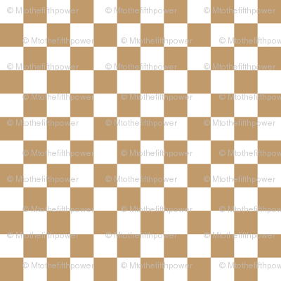 Half Inch White and Camel Brown Checkerboard Squares