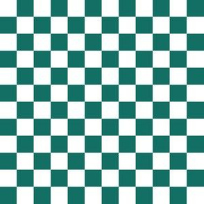 Half Inch White and Cyan Turquoise Blue Checkerboard Squares