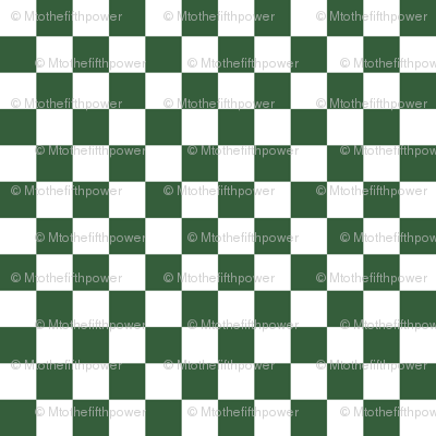 Half Inch White and Hunter Green Checkerboard Squares