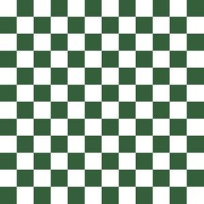 Half Inch White and Hunter Green Checkerboard Squares