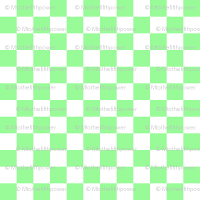 Half Inch White and Mint Green Checkerboard Squares