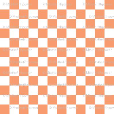 Half Inch White and Peach Checkerboard Squares