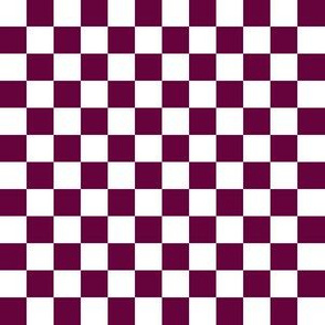 Half Inch White and Tyrian Purple Checkerboard Squares