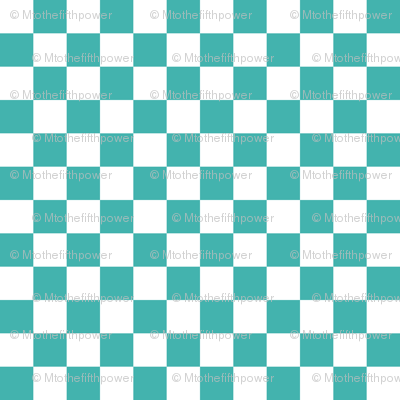 Half Inch White and Verdigris Blue Green Checkerboard Squares