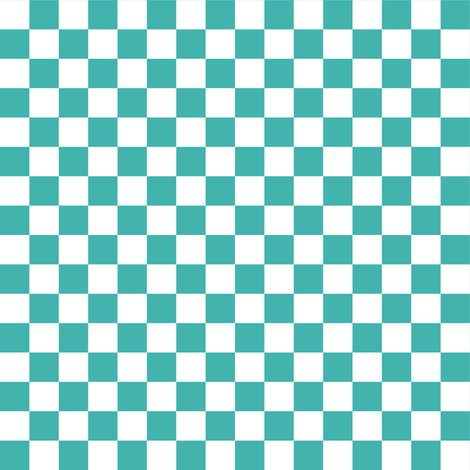 Half Inch White and Verdigris Blue Green Checkerboard Squares fabric by mtothefifthpower on Spoonflower - custom fabric