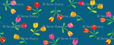 Swedish Folklore Floral Flowers/Teal