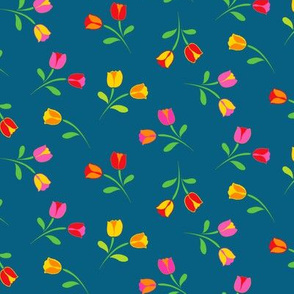 Swedish Folklore Floral Flowers/Teal