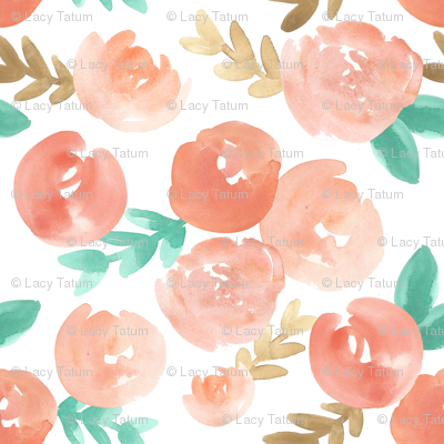 blush pink peach soft  watercolor floral