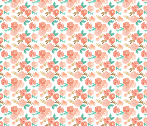 blush pink peach soft  watercolor floral  fabric by smallhoursshop on Spoonflower - custom fabric