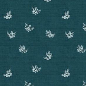 Feathery Fern on Dark Teal Linen, Smaller