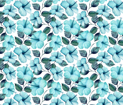 Teal Hibiscus fabric by lesley_fitzpatrick on Spoonflower - custom fabric