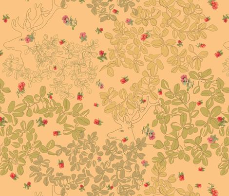 Deer in Bearberry fabric by herbal_things on Spoonflower - custom fabric