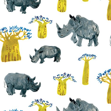 Watercolor Rhino ,the african safari adventure, baobab trees