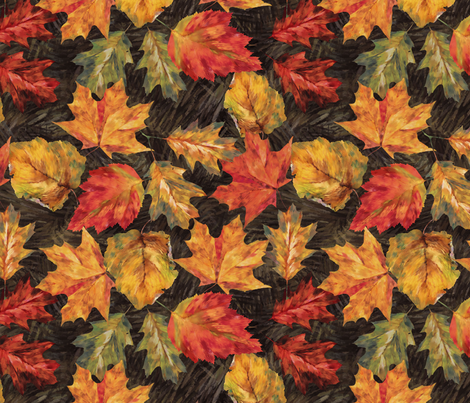 Impressionist Autumn Leaves fabric by meganpalmer on Spoonflower - custom fabric