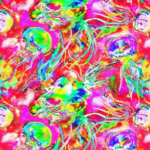 JELLYFISH DANCE STRIPES WATERCOLOR psychedelic fruity