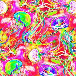 JELLYFISH DANCE FREEDOM WATERCOLOR psychedelic fruity