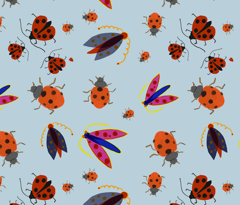insects_Blue fabric by susibieri on Spoonflower - custom fabric