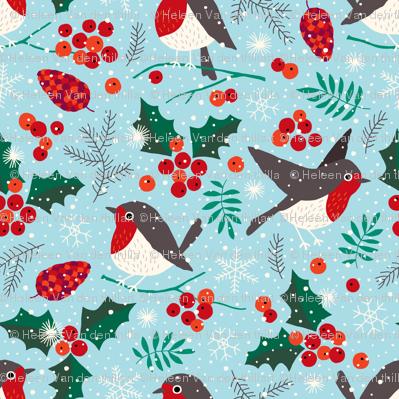 Christmas birds in snow blue (mini)
