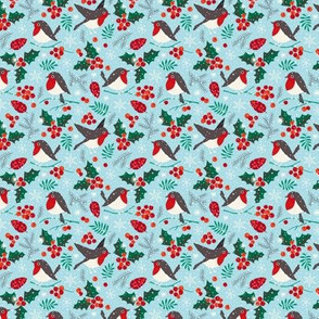 Christmas birds in snow blue (mini)