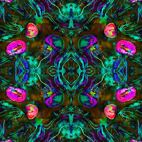 JELLYFISH DANCE KALEIDOSCOPE DAMASK WATERCOLOR FUSHIA PURPLE GLOW IN THE DARK effect fabric by paysmage on Spoonflower - custom fabric