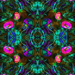 JELLYFISH DANCE KALEIDOSCOPE DAMASK WATERCOLOR FUSHIA PURPLE GLOW IN THE DARK effect