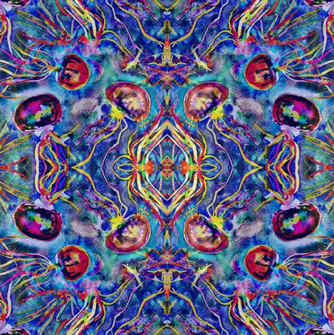 JELLYFISH DANCE KALEIDOSCOPE WATERCOLOR BLUE AQUA MULTI fabric by paysmage on Spoonflower - custom fabric