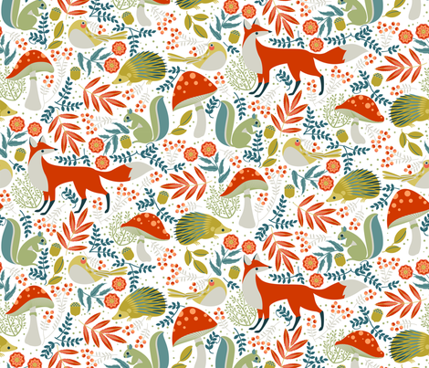 autumn forest harvest on white fabric by cjldesigns on Spoonflower - custom fabric