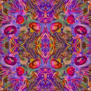 JELLYFISH DANCE KALEIDOSCOPE WATERCOLOR FUSHIA PURPLE