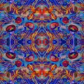 JELLYFISH DANCE KALEIDOSCOPE WATERCOLOR BLUE ORANGE