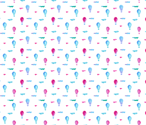 Watercolor air balloons fabric by katerinaizotova on Spoonflower - custom fabric