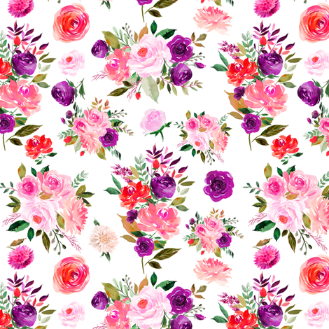 """6"""" BRIGHT Watercolor Floral Bouquets fabric by greenmountainfabric on Spoonflower - custom fabric"""