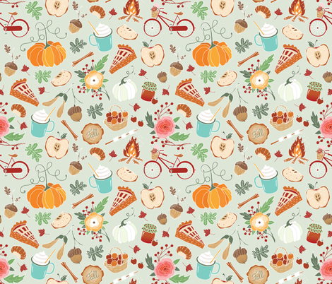 Spicy latte, pumpkins & apple pie / green  fabric by appaloosa_designs on Spoonflower - custom fabric