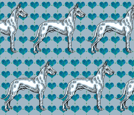 Great Dane Frost fabric by dogdaze_ on Spoonflower - custom fabric