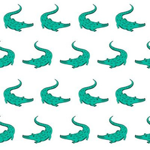 gator fabric animal nature design teal