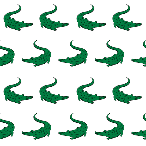 gator fabric animal nature design white fabric by charlottewinter on Spoonflower - custom fabric