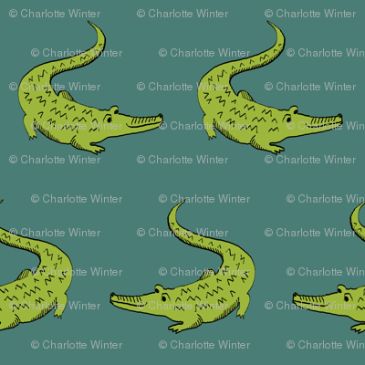 gator fabric animal nature design green