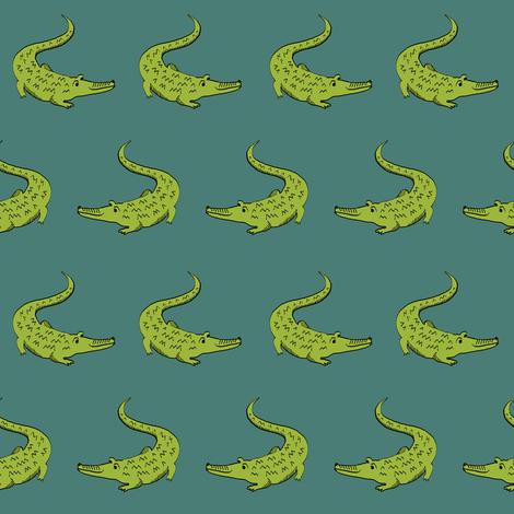 gator fabric animal nature design green fabric by charlottewinter on Spoonflower - custom fabric