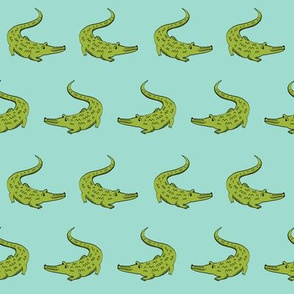 gator fabric animal nature design mint