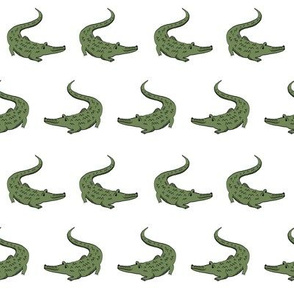 gator fabric animal nature design green and white
