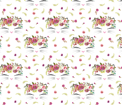 """3"""" Kitty Floral White  fabric by lil'faye on Spoonflower - custom fabric"""
