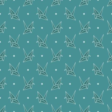 Blue Paper Crane  fabric by mkaybrinker on Spoonflower - custom fabric